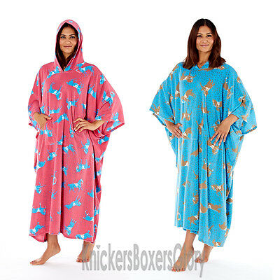 Ladies Horse Print Fleece Poncho Hooded Lounger Dressing Gown/Robe Blue/Pink NEW
