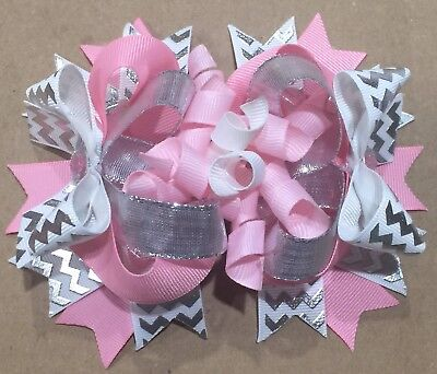 Pink And Silver Boutique Bow