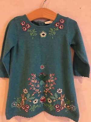 NEXT Teal Embroidered Rabbit And Flowers Jumper Dress 6-9 Months