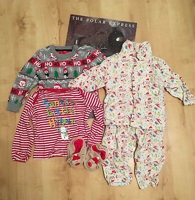 Boys 12-18 Month Christmas Clothes Bundle Jumper Top Pyjamas Slippers
