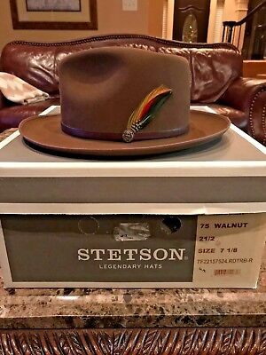 "Stetson ""roadster"" Royal Stetson Walnut Size 7 1/8 Great Profile Fedora!"