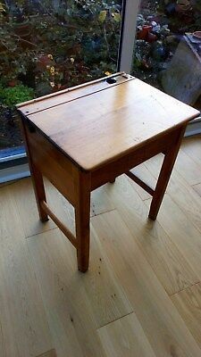 Vintage Old Wooden School Desk with Lift Up Lid & Inkwell Space