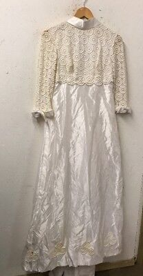 Size 10/12 Donerica Vintage Ivory Floral Cut Out Embroidered Top Wedding Dress