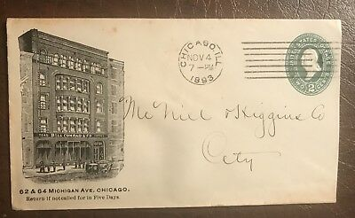 1893 Bell Conrad Coffee Teas Michigan Ave. Chicago Cover Envelope