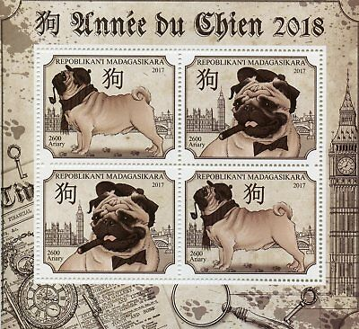Madagascar 2017 MNH Year of Dog 2018 4v M/S Chinese Lunar New Year Dogs Stamps