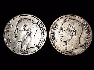 1935 Venezuela 5 Bolivares Silver Circulated coins - Lot of 2 (LN580)