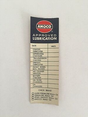 AMOCO Approved Lubrication Sticker Oil Change Decal