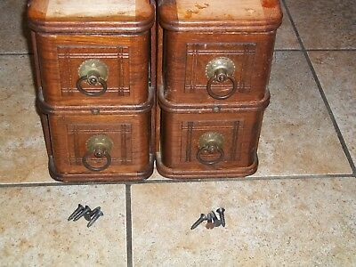 Antique White Treadle Sewing Machine Drawers 2 Sets with Criss Cross Pattern