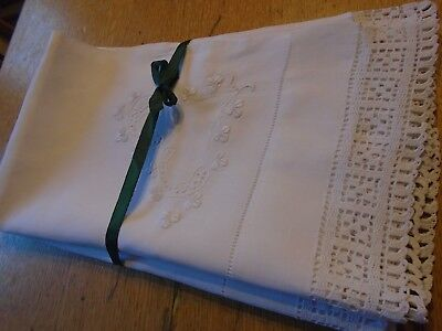 Pair Of Vintage Irish Linen Pillowcases - Embroidered, Hand Crochet Lace