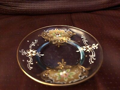 Vintage Moser Hand Painted Pin Glass Dish