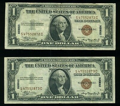(2) 1935 A Hawaii Emergency Consecutive Serial $1 Currency Sister Notes