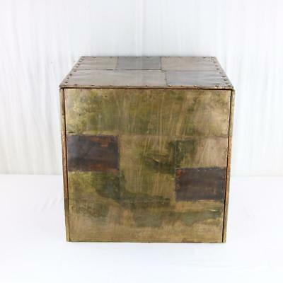 A Copper Clad Cube Side Table Manner of Paul Evans 1970s Studio Arts & Crafts