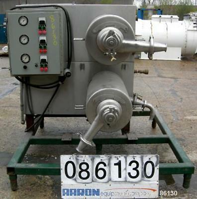 Used- Twin Tube Scrape Surface Heat Exchanger, 304 Stainless Steel. Approximate
