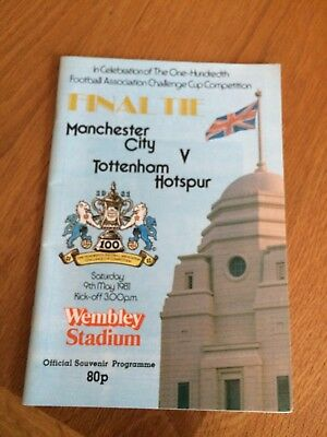 FA Cup Final 1981 Football Programmes Manchester City v Spurs + Replay