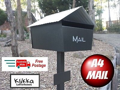 Letterbox Large Grey Black A4 Mail Box Mailbox Post Solid Powder Coated New