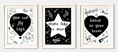 Nursery Decor Wall Art Prints, Canvas, Set of 3 Grouping in Black/White by Lily
