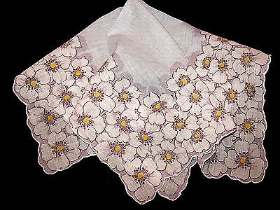 VINTAGE*DOGWOODS*WHITE ON BLUE*HANKY/HANDERCHIEF*EXcellent Condition*