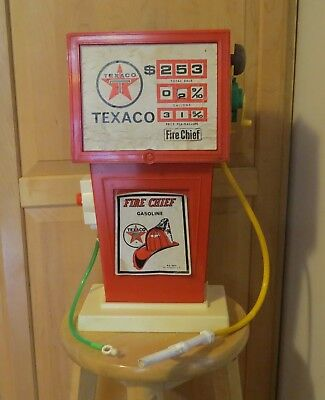 "Vintage Texaco Plastic Toy Gas Pump by H-G Toys ""Fire Chief"" East Rockaway, NY"
