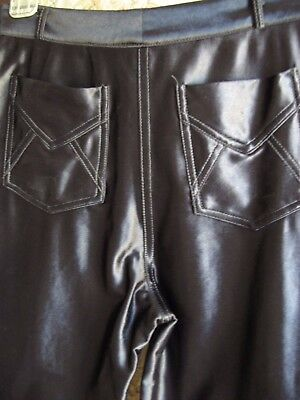 Vtg 70's 80's Disco Pants Shiny Spandex Xs Black Straight Cole California Sexy !