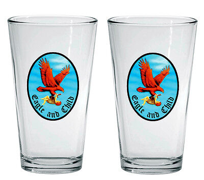 EAGLE AND CHILD Pint BEER glasses Tolkien Tolkein Lewis the INKLINGS NEW Gandalf