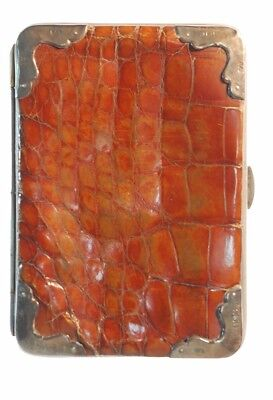 Silver Cornered Crocodile Skin Card Case