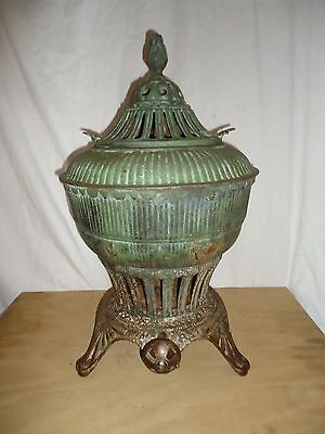 Antique Omega Gas Stove Heater,potbelly Urn Style Ornate  Embossed Iron,pat 1896