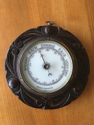 Antique Arts and Crafts Oak Barometer