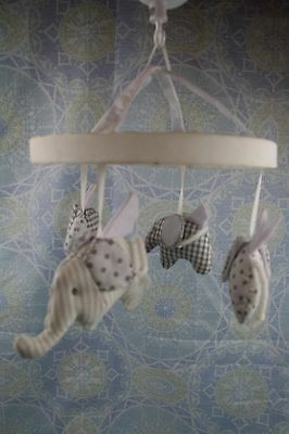 Pottery Barn Kids Crib Mobile No Arm Baby Flying Elephants Quilted Gray White
