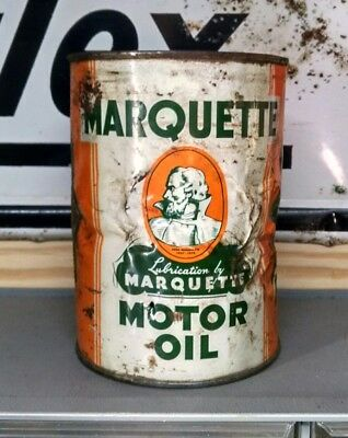Vintage Oringal Quart Marquette Motor Oil Can - Rare Can -