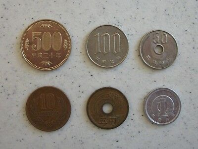 Japanese Yen Coin Lot - Japan 500, 100, 50, 10, 5 and 1 Yen Coins