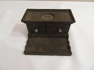 Antique Cast Iron Double Door Inkwell With Two Glass Inserts Heavy Embossed