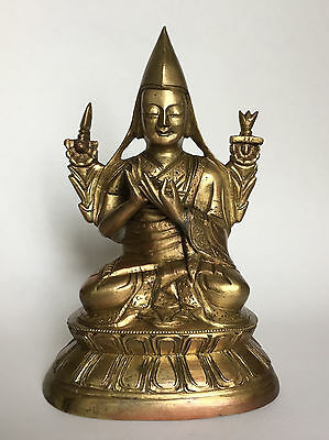 Late 19th Century antique Sino-Mongolian Buddhist bronze statue of Tsongkhapa
