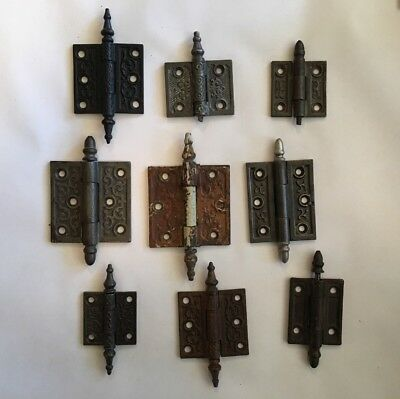 Lot of 9 Vintage Cast Iron Victorian Hinges