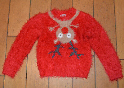 NEXT Girl's CHRISTMAS Raindeer Light up nose Jumper in Red, Age 7 - 8 years