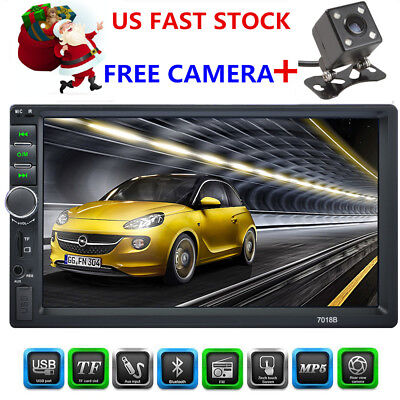 "2DIN 7"" HD Car Stereo Radio Player MP5 FM Bluetooth USB Aux GPS DVD+FREE Camera"
