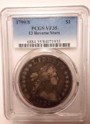 1799/8 Draped Bust Dollar - Pcgs - Vf 35 - 13 Reverse Stars - New Style Holder