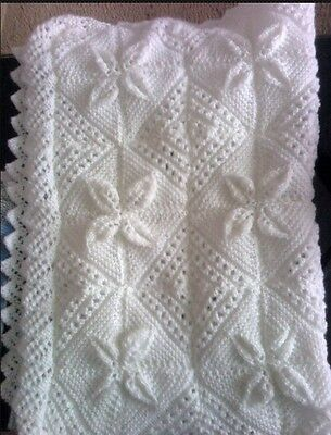 Hand Knitted Baby Blanket With Lacey Edging !!!!!