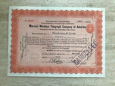 1912 (Titanic) Marconi Wireless  Company Temporary Stock Certificate Nm