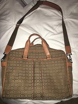 Coach Hudson Commuter Khaki Canvas Messenger Laptop Bag Briefcase RETAIL $339
