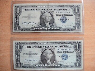 ~ $1 Silver Certificate 1957A and 1957B Blue Seals ~