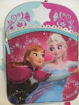 "New Disney Frozen Anna And Elsa Full Size 16"" Backpack School Book Bag"