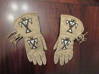 Antique Native American Beaded Gauntlets with Thunderbird Designs!