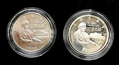 1993 Silver 50c Proof & UNC Commemorative Madison Half Dollar COIN ONLY