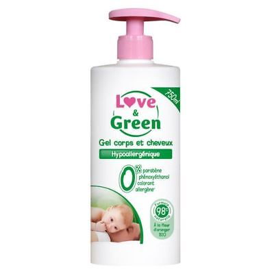 LOVE & GREEN Gel Corps & Cheveux Hypoallergénique 0% 750ml
