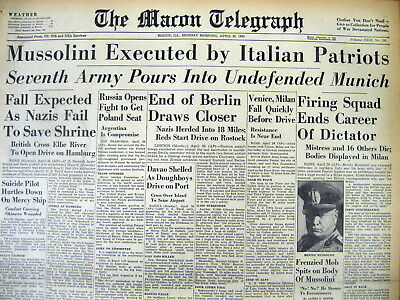 <2 1945 WW II hdlne newspapers BENITO MUSSOLINI DEAD Killed By Italian partizans