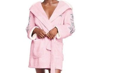 Victoria's Secret PINK Bling Sherpa Fur Lined Robe Light Pink MEDIUM/LARGE XBW11