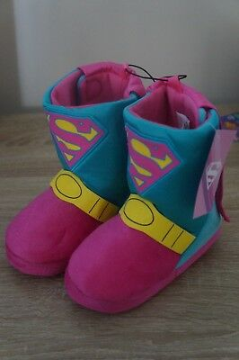 NEW Supergirl Toddler Bootie Slippers w/Cape Costume Dress Up House Shoes