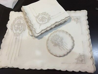 Exquisite Vntg Antique Monogramed  Embroidered Placemats Napkins Coasters  30 Pc