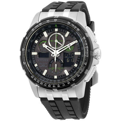 Citizen Skyhawk A-T Black Dial Polyurethane Strap Men'S Watch Jy8051-08E