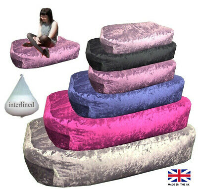 Crushed Velvet Beanbag Bed foot Stool Bean bag Couch Kids Adults lounger bags